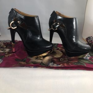 Sophia and Lee Black with Gold Accent Heels